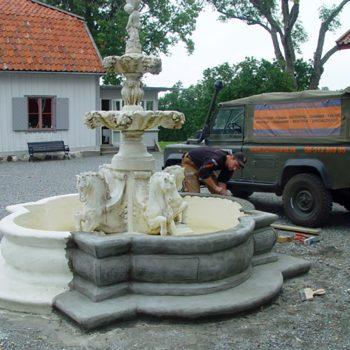 Renovering av fontän på Klingsboda gård